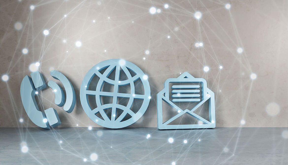 cutout icons representing communication email internet and phone