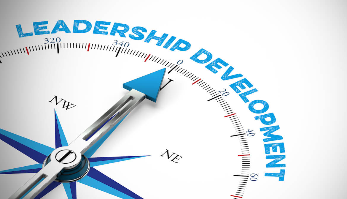 compass arrow pointing to leadership development