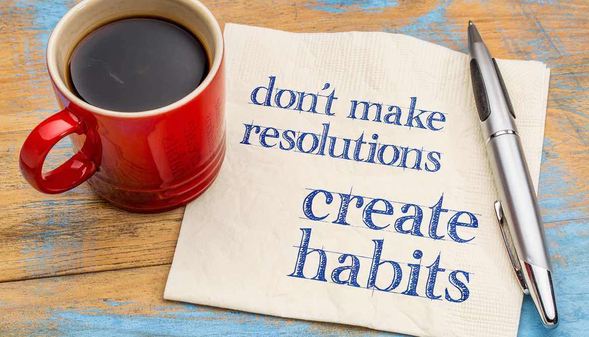 mug of coffee with words create habits