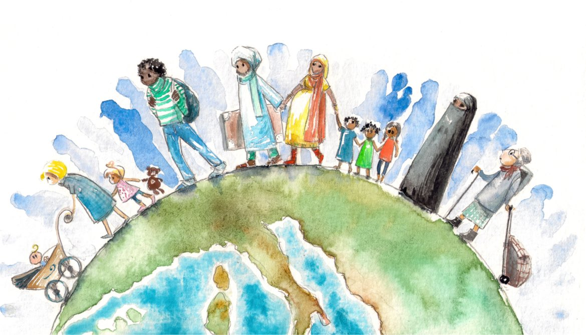 Watercolor illustration of people migrating across the world