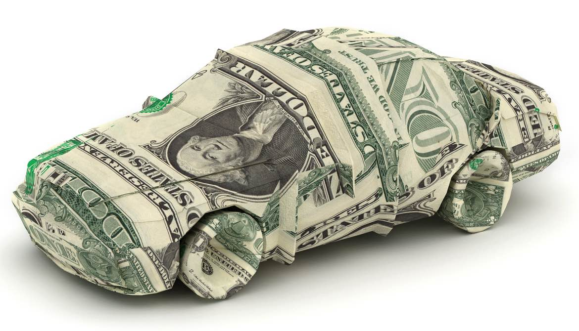 car origami made with money paper