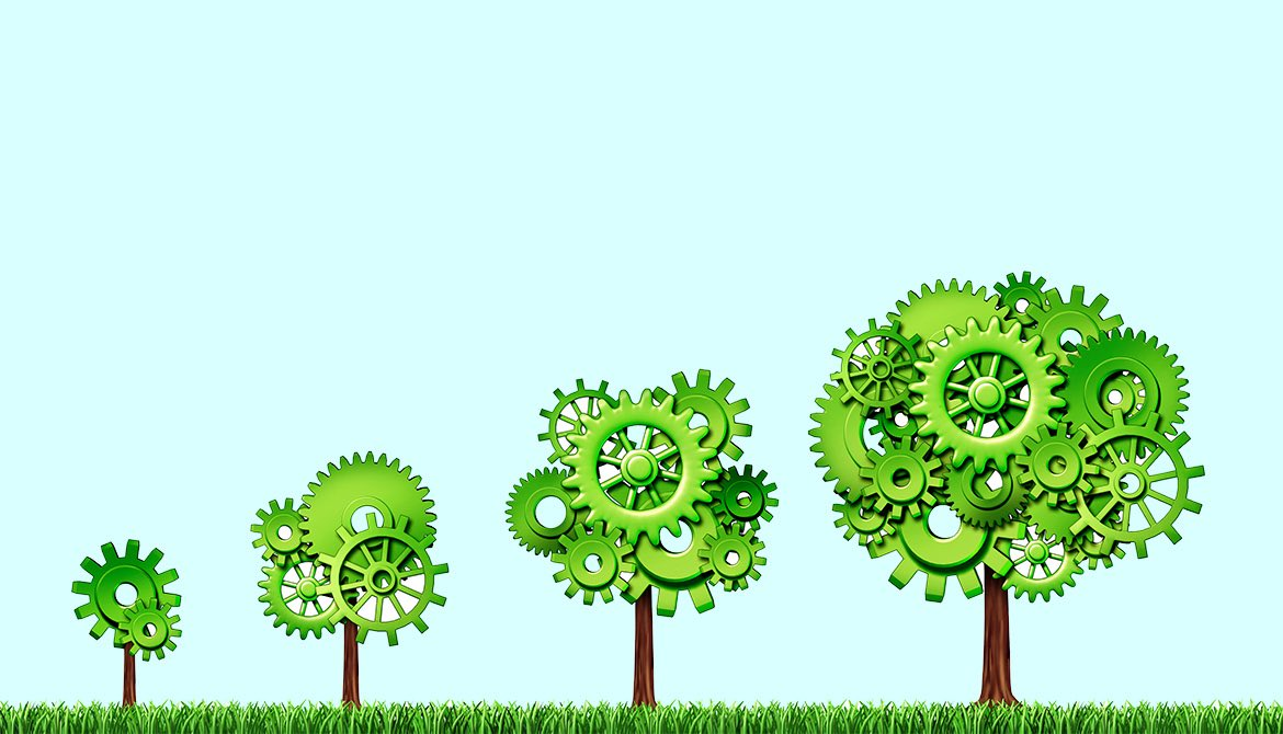 four trees of increasing height with gears for leaves