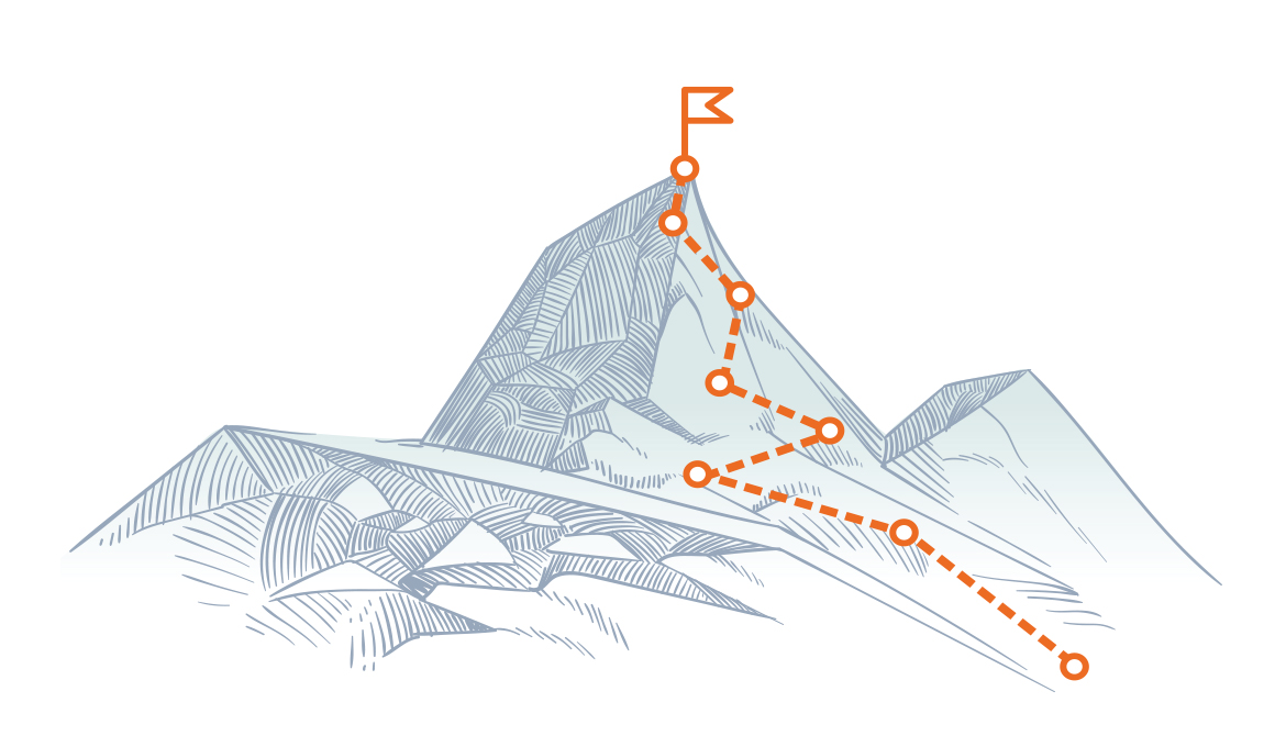 Drawing of a mountain peak with a path marked out to a flag at the top