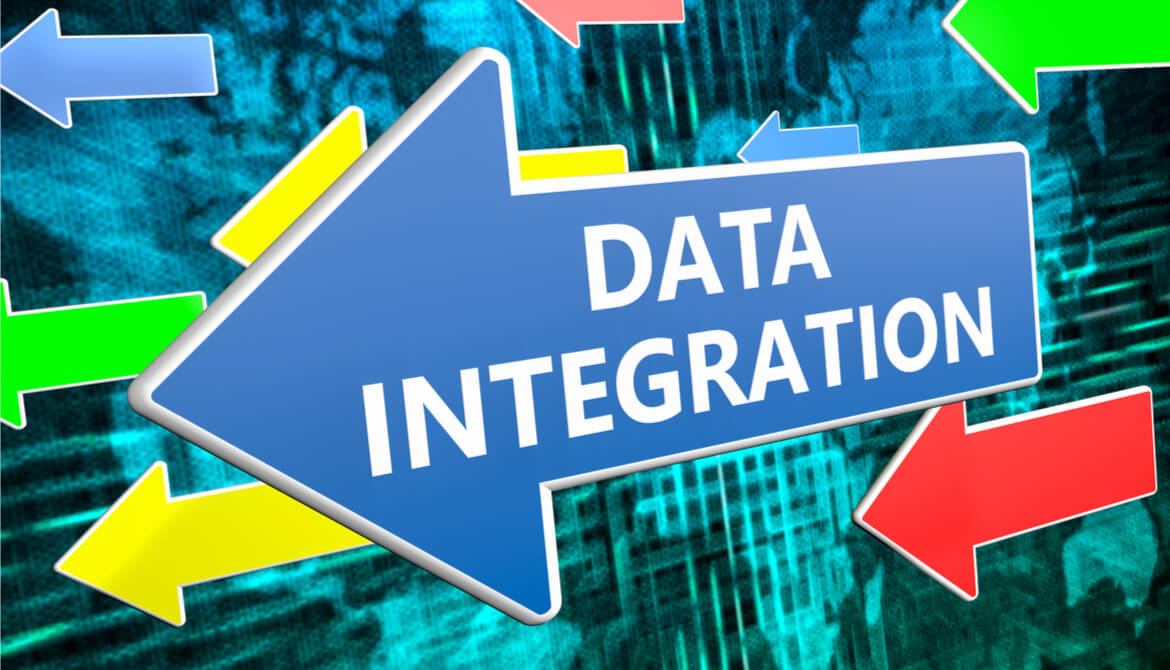 Data Integration text concept on blue arrow flying over green world map background