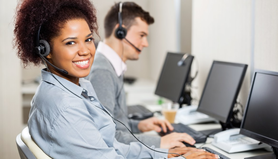 female african american call center agent smiling