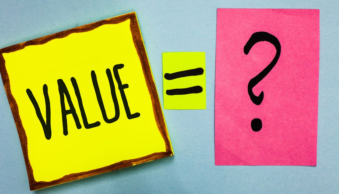 value = question mark written across brightly colored sticky notes