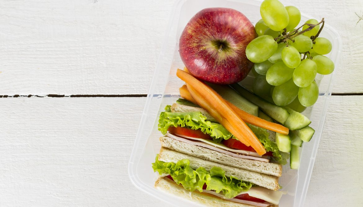 packed lunch in clear plastic container