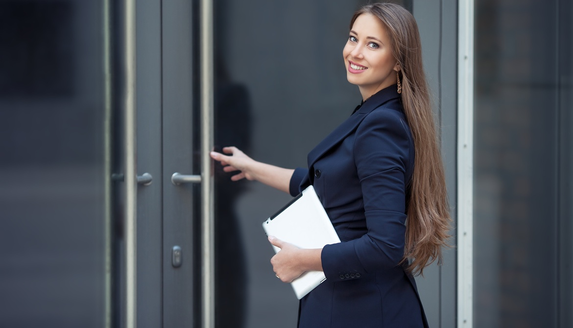 female executive entering an office