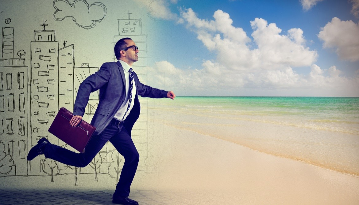 businessman running from illustrated busy city life to the beach
