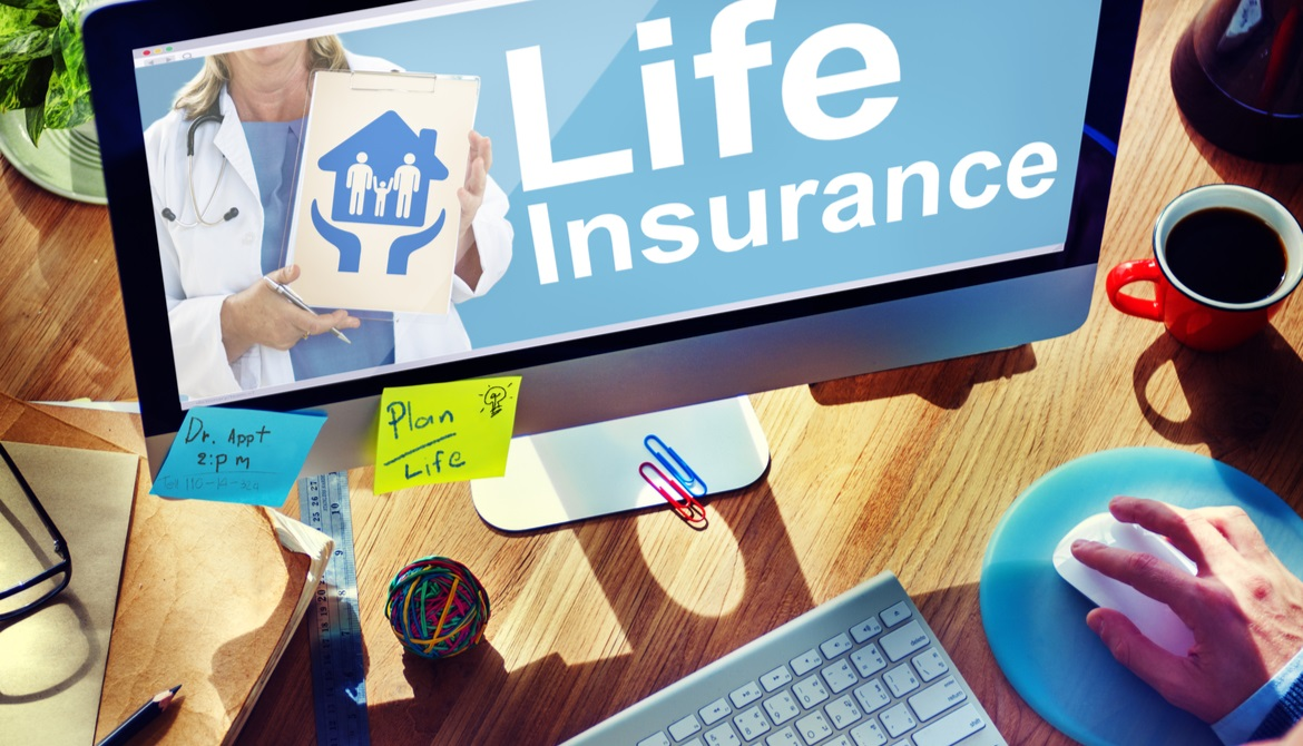 the words life insurance on a computer monitor