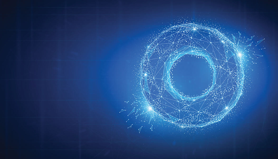 illustration of blue glowing donut made of connected data points