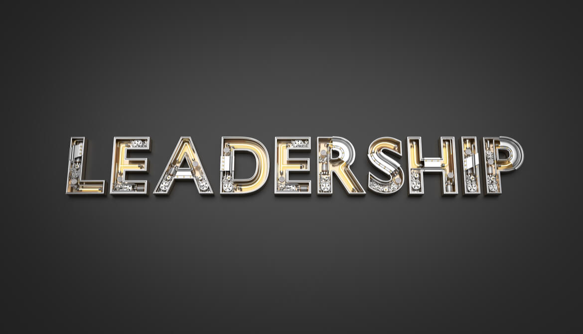 Leadership word made from Mechanical alphabet