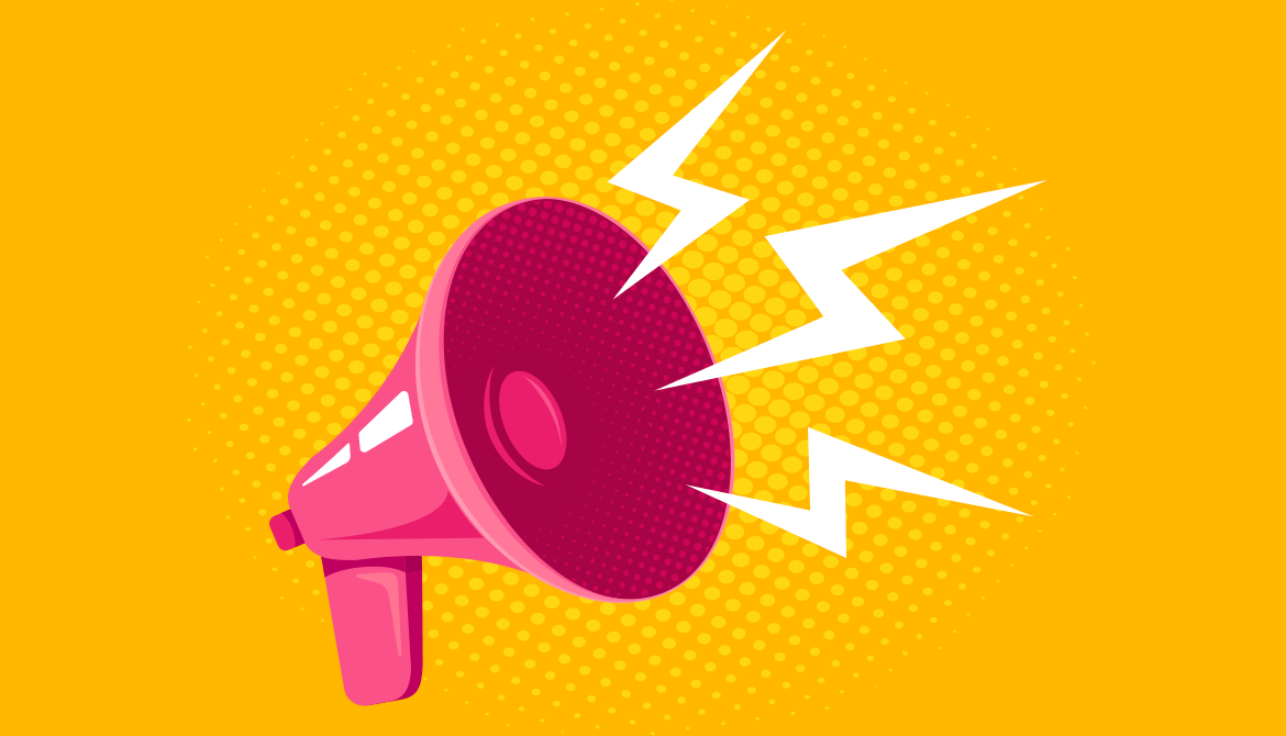 illustration of pink megaphone blasting loud communication on a yellow background