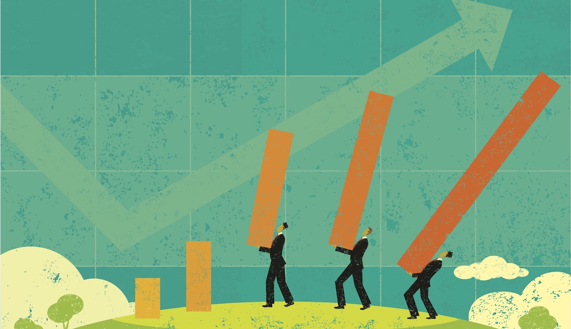 illustration shows business men placing bar chart bars on a hill suggests improvement and progress