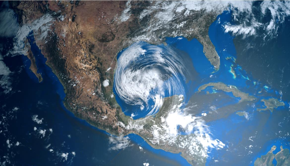 satellite image of a hurricane approaching Texas