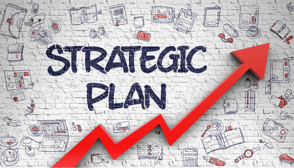red arrow surrounds the words strategic plan