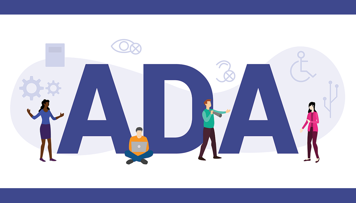 illustration of diverse people around the letters ADA with disability and accessibility icons