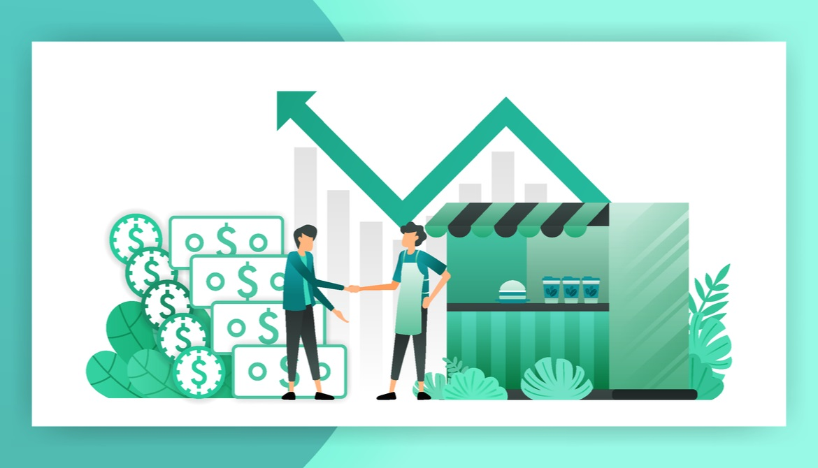 illustration of small business owner shaking hands with lender in front of shop and upward trending graph and money