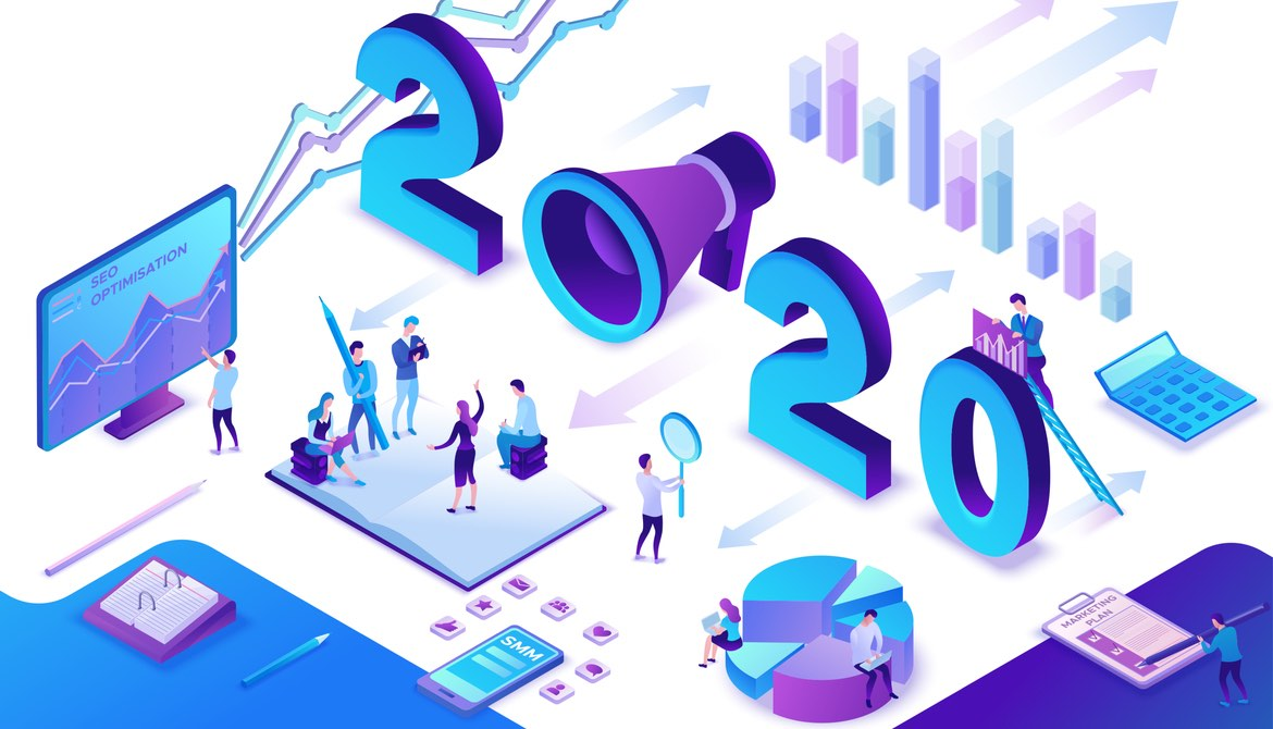 illustration of marketers planning strategy and working with new tools for 2020