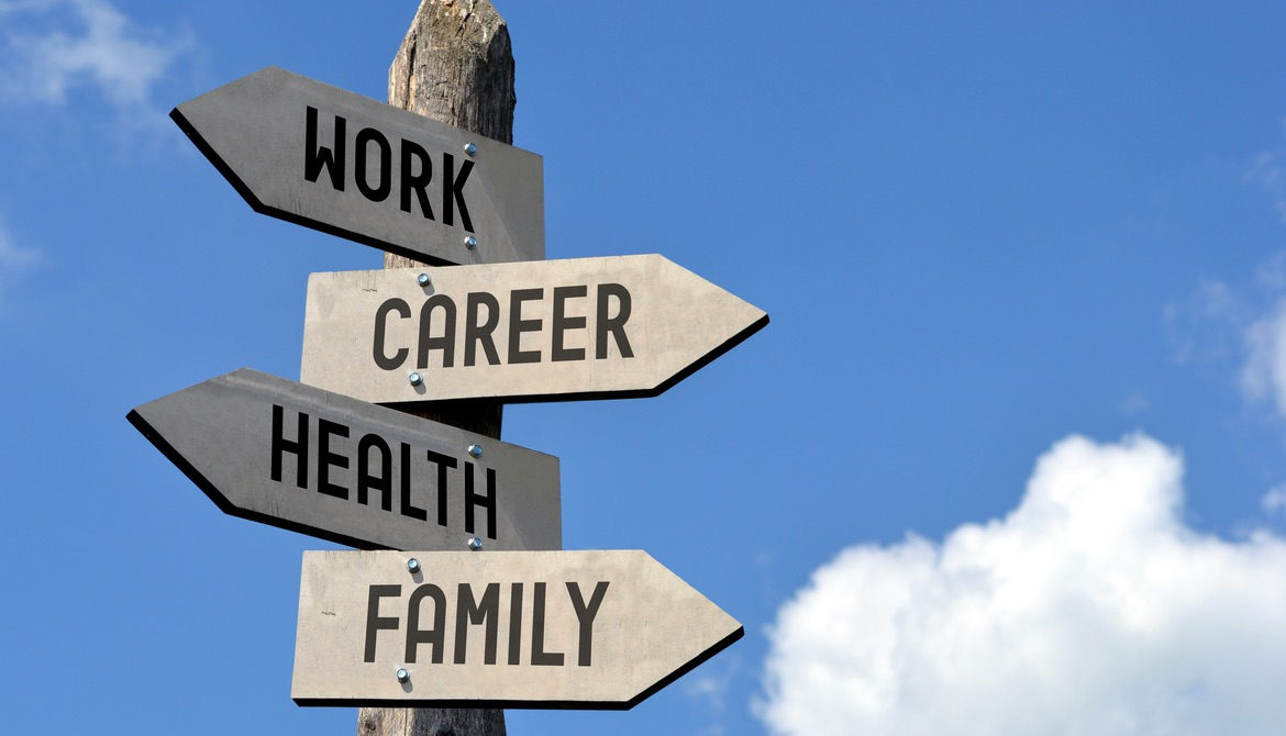 wooden arrow signs pointing to work career health and family in front of blue sky