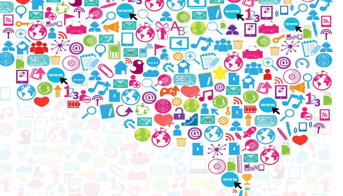digital marketing and social media icons in shape of thought bubble