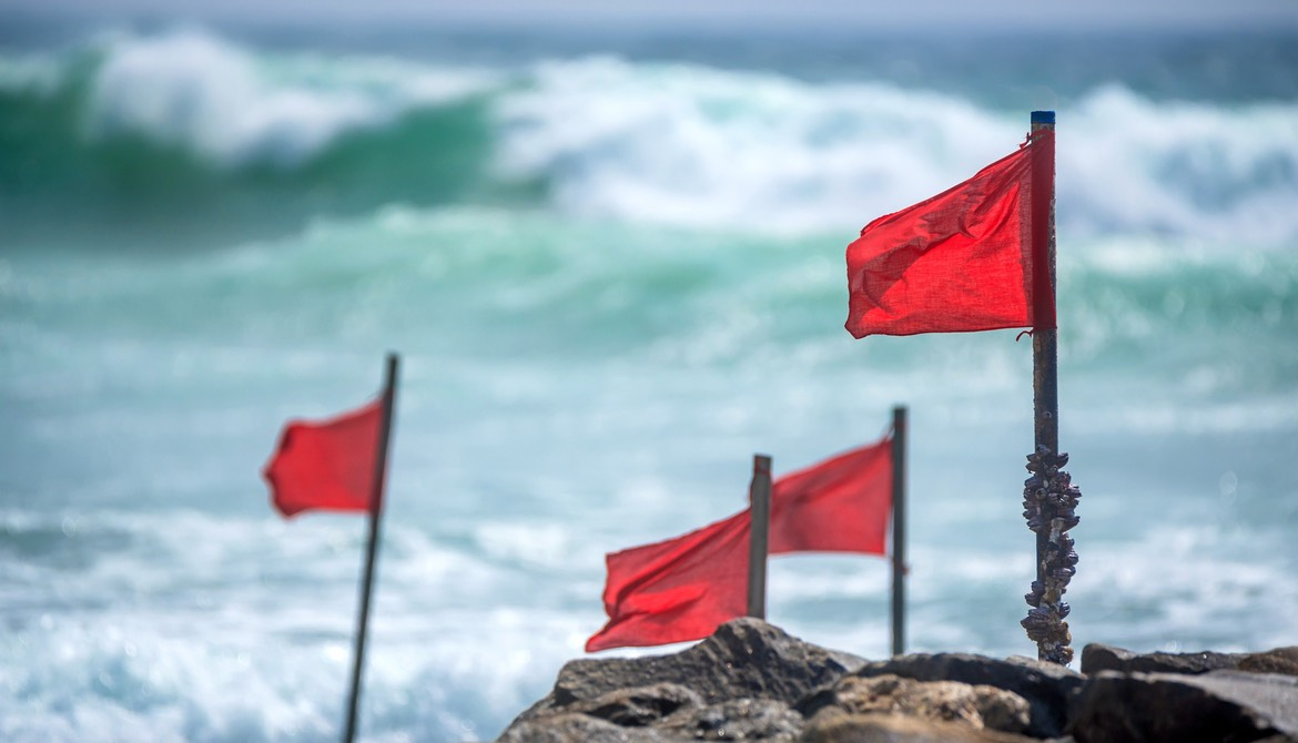 red flags on the beach