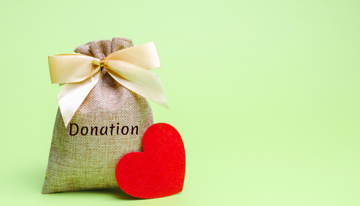 donation bag and red heart