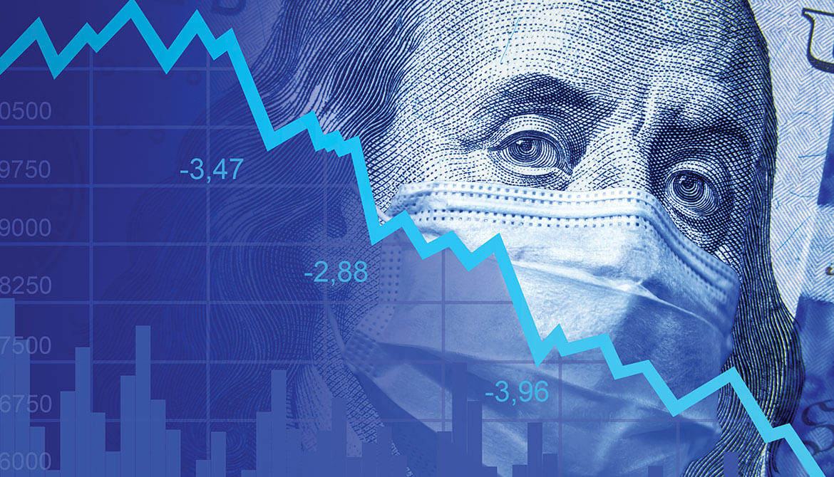 blue image of Benjamin Franklin from a $100 bill wearing a mask overlaid with economic graph trending down