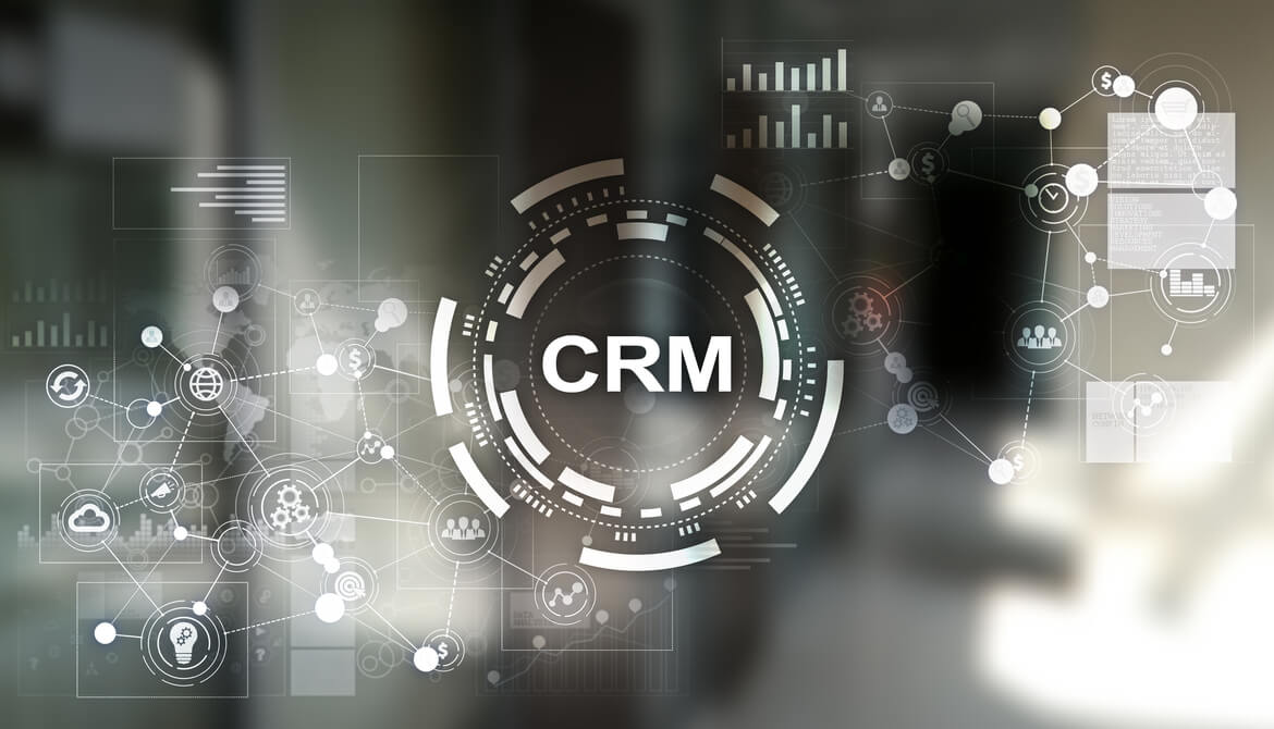 digital illustration of CRM customer relationship management system in center of network of member and sales data