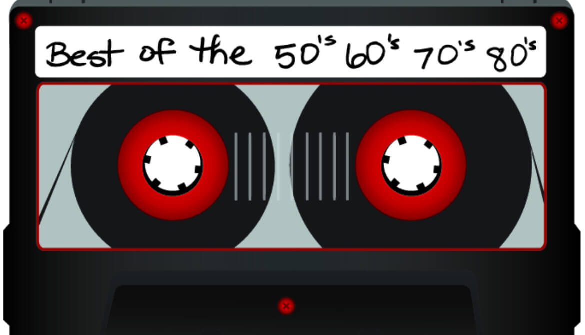 cassette tape with label for best of the 50s, 60s, 70s and 80s music