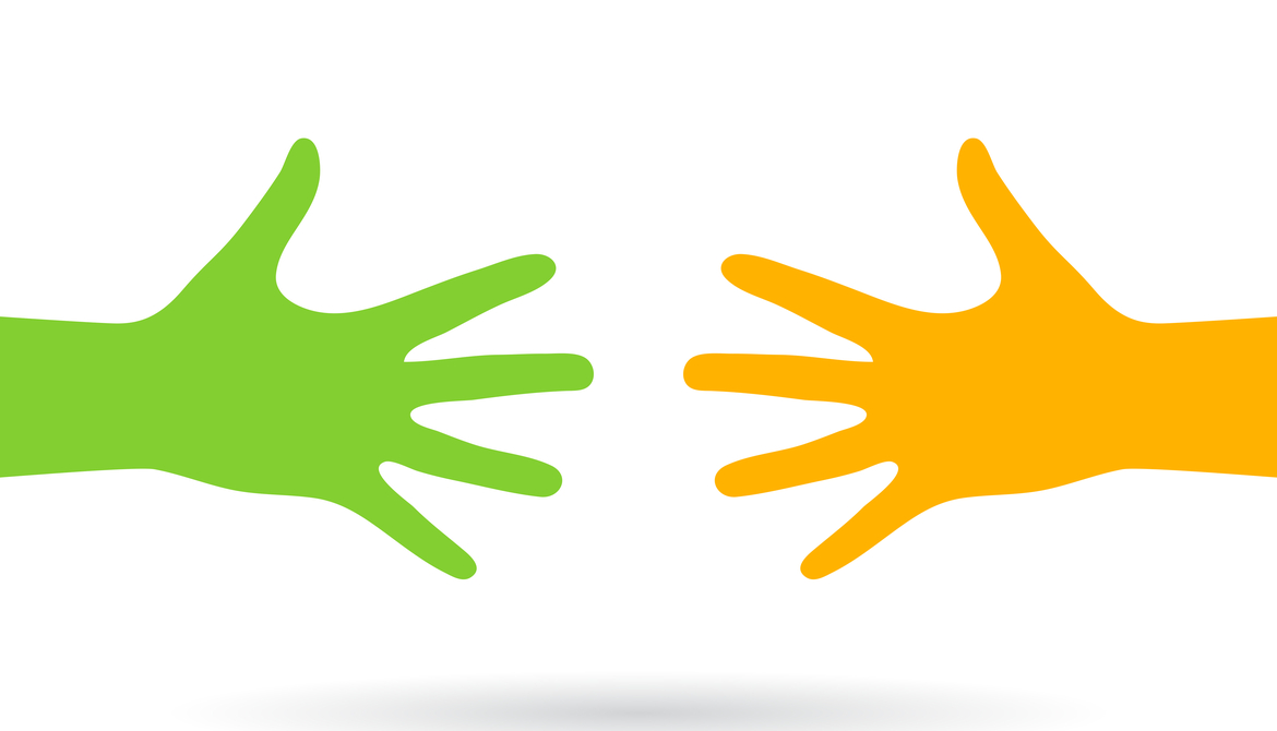 yellow and green hand reach out