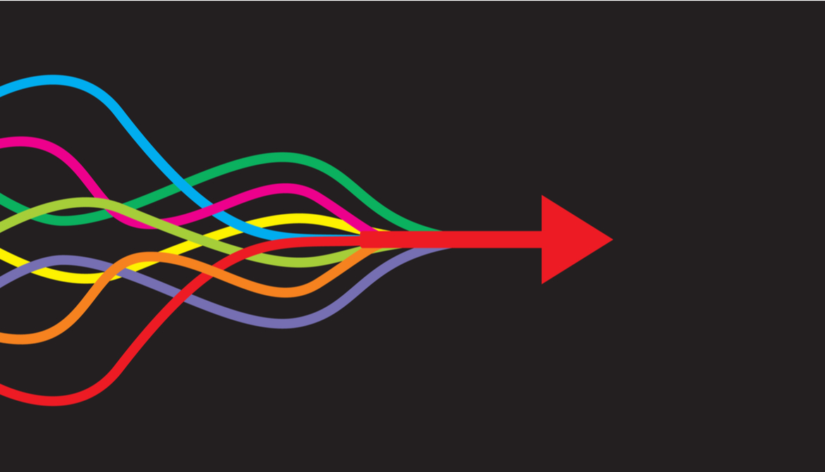colorful strands merge to form red arrow
