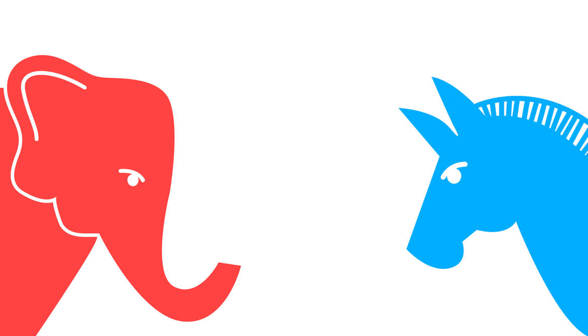 red elephant and blue donkey political symbols