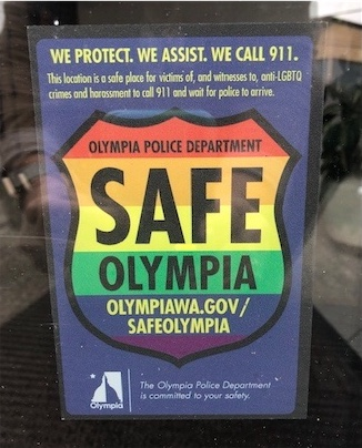 safe olympia rainbow window sticker
