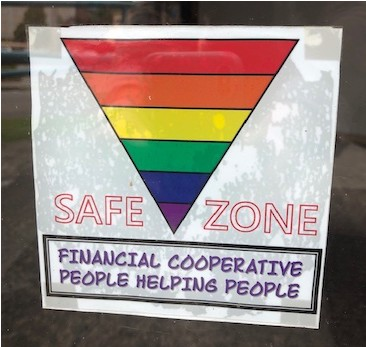 Safe Zone rain bow window sign