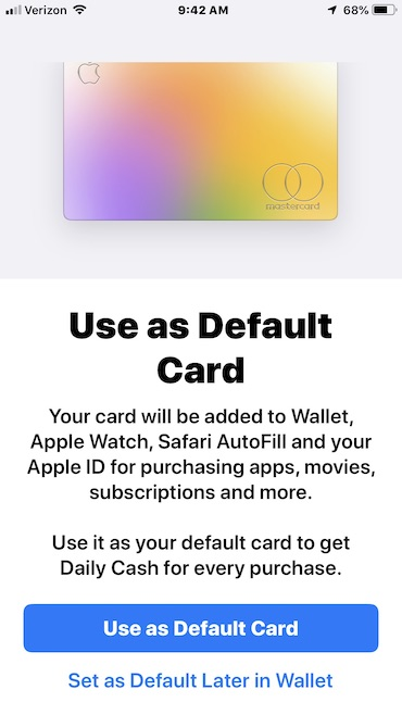 screen shot from apple card application