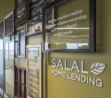 home loan information on wall at Salal Credit Union