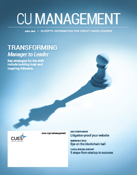April 2018 Issue CU Management Cover