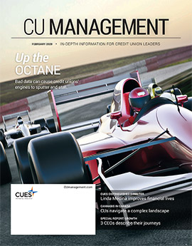 February 2020 cover of CU Management magazine