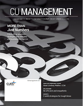 February 2021 cover of CU Management magazine