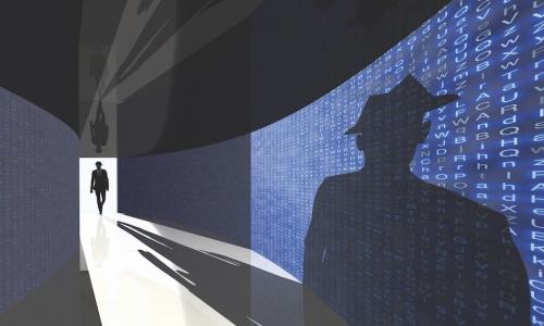 Dark figure in a black hat walking down a corridor made of data