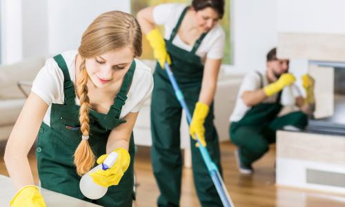 professional cleaners work on an apartment