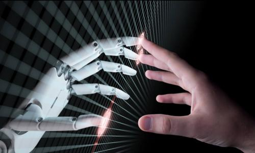 artificial intelligence hand and a human hand pointing to each other