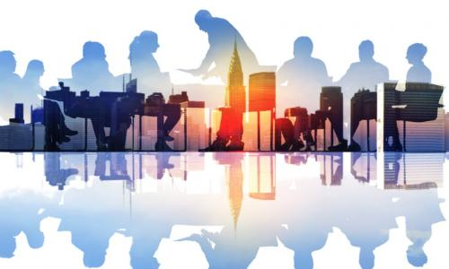 group at a board table superimposed over a city skyline