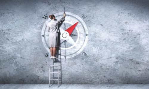 a woman on a ladder draws a compass on a gray wall