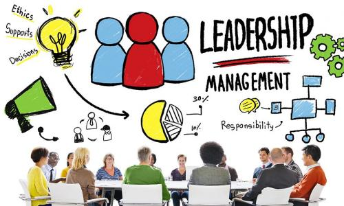 diverse team members learning together with colorful drawing of leadership concept above them