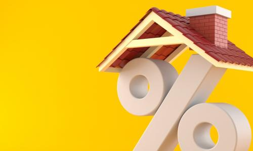 Percent symbol with house roof isolated on orange background 3d illustration