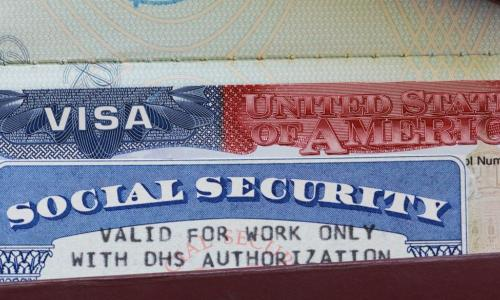 social security card and US visa in a wallet
