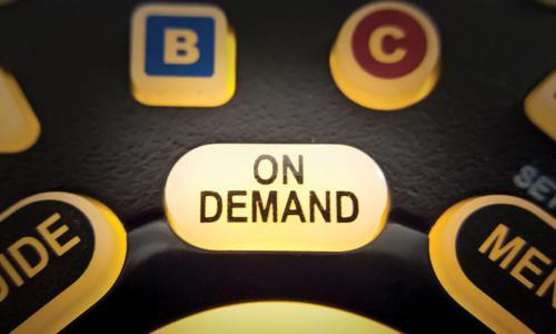 close up of TV remote and On Demand button