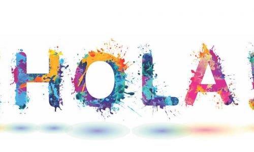 Graphic of HOLA written in colorful paint splatters